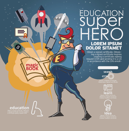 Flat linear Infographic Education book super hero concept. Vector Illustration.
