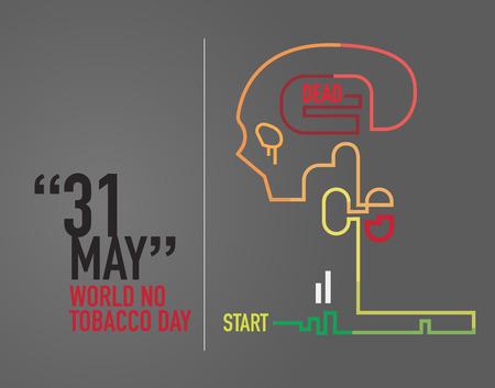 no lines: World no tobacco day. no smoking. Illustration