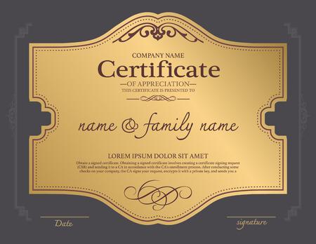 certificate: diseño de la plantilla de certificado. Vectores