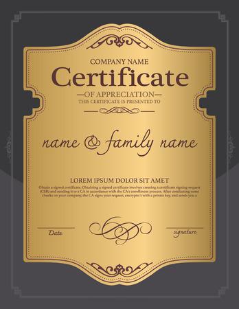 Certifikát design šablony. Ilustrace