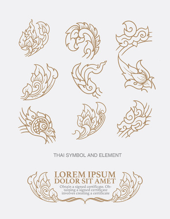 thai decor: vector set: thai art  design elements and page decoration - lots of useful elements to embellish your layout