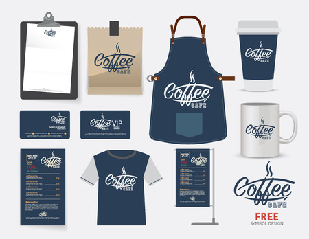 cafe: Vector coffee cafe restaurant set, T-Shirt, menu, namecard and free symbol design.