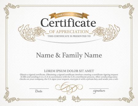 business degree: Certificate Design Template. Thai art design.