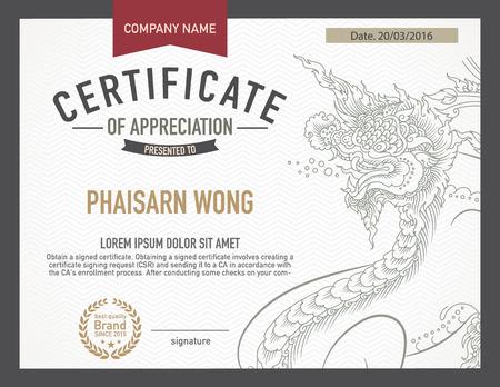art materials: modern thai art certificate design template.