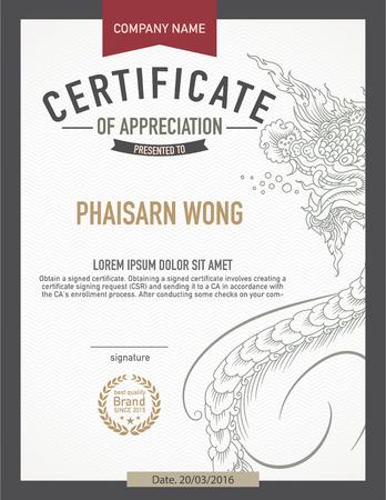 business degree: modern thai art certificate design template.