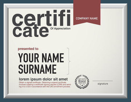 certificado: Modelo moderno del certificado de dise�o vectorial.
