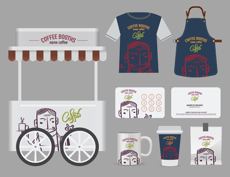 simbols: Vector coffee booths set, T-Shirt, name card and free symbol design. free sign and simbols