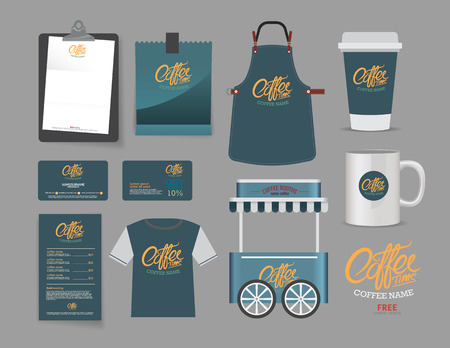 coffee booth and restaurant set, T-Shirt, menu, name card and free symbol design.