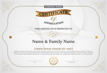 diploma: illustration of gold detailed certificate.
