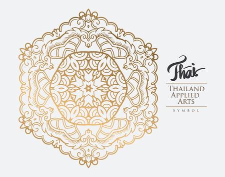 elements: Elemento del arte tailandés para el diseño, la decoración de oro tradicional