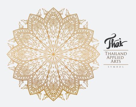 line thai: Thai art element for design, Traditional gold decor