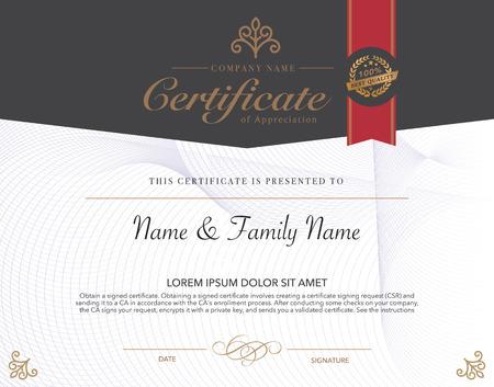 marcos decorativos: Ilustraci�n vectorial de oro certificado detallado. Vectores