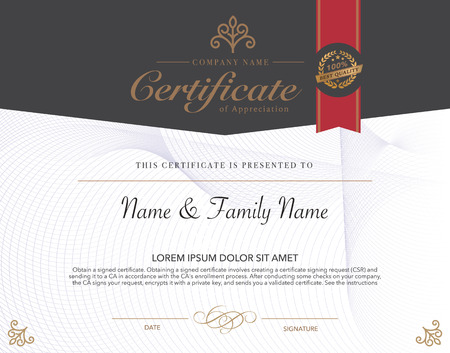 template frame: Vector illustration of gold detailed certificate.