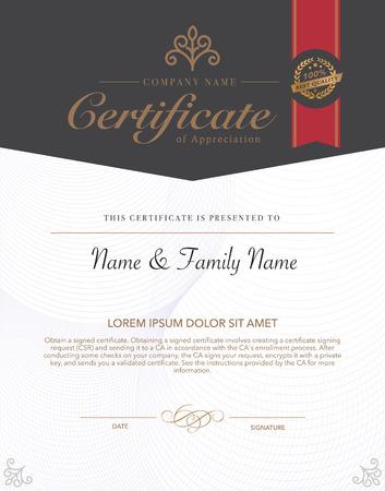 certificado: Ilustración vectorial de oro certificado detallado. Vectores