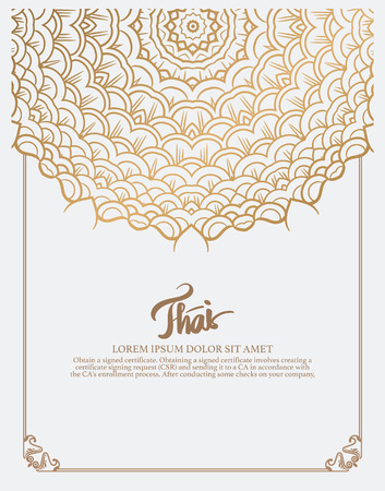 thai art: Thai art element for design, Traditional gold decor. Ornamental vintage frame for wedding invitations and greeting cards.