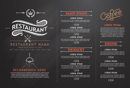 carta de postres: diseño de la vendimia y el arte menú del restaurante.
