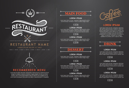 restaurant dining: vintage and art restaurant menu design.
