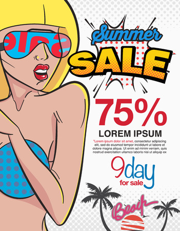 Summer sale bubble and expression comic style, Women who love to sign sale. poster, leaflet, Brochure, Illustration