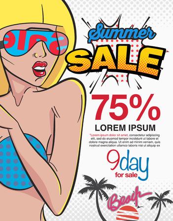 wow: Verano burbuja venta y expresión estilo cómico, mujeres que aman a firmar la venta. cartel, folleto, folleto,