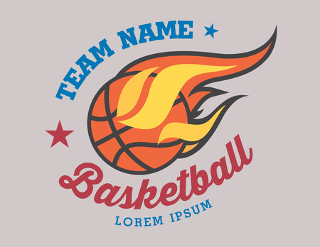basketball ball on fire: Basketball  logo design template.