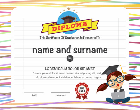Certificates kindergarten and elementary and secondary education. 版權商用圖片 - 40347084