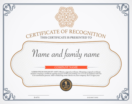 a certificate: Vector illustration of gold detailed certificate.