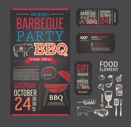 バーベキュー パーティー バーベキュー メニューのデザイン テンプレートを設定します。名刺、ギフト券、チケット、食品チラシ。  イラスト・ベクター素材