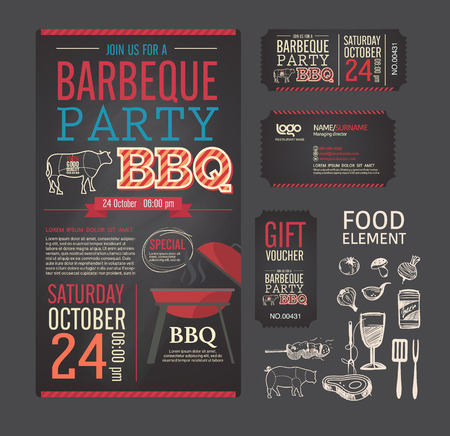 Barbecue party BBQ template menu design set. name card, gift voucher, ticket, food flyer. Çizim