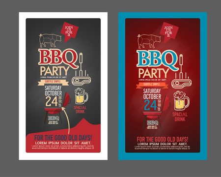 party food: Barbecue party BBQ template menu design set. name card, gift voucher, ticket, food flyer. Illustration