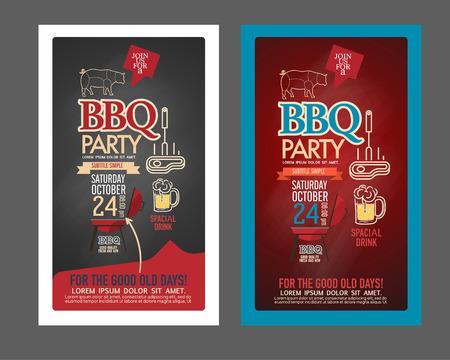 logo de comida: Establece Partido de la barbacoa del Bbq diseño de menú plantilla. nombre de la tarjeta, cheque regalo, boleto, volante alimentos. Vectores