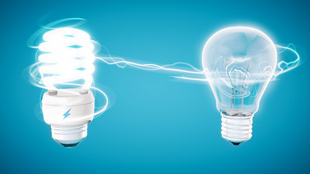 electric bulb: Retouch energy saver bulb on modern blue  background and stylized electric symbol on model. Stock Photo
