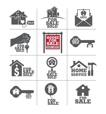 satılık: Real estate for sale icon set.