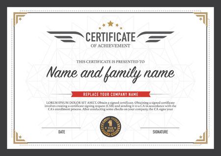 certificado: dise�o de la plantilla de certificado. Vectores