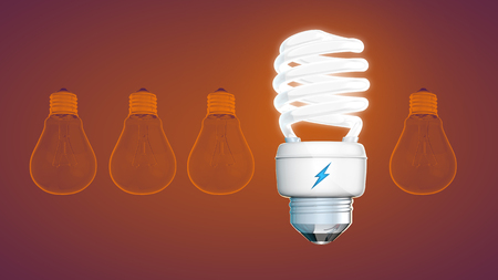 electricity 3d: burning light and Energy savings. Stock Photo