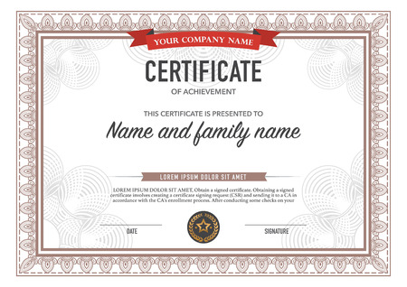 certificate  calligraphy: Vector illustration of gold detailed certificate.