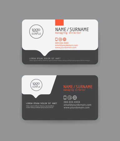 background card: Vector modern clean business card template. Flat design