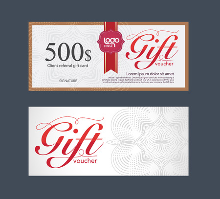 check: Voucher design template. vector