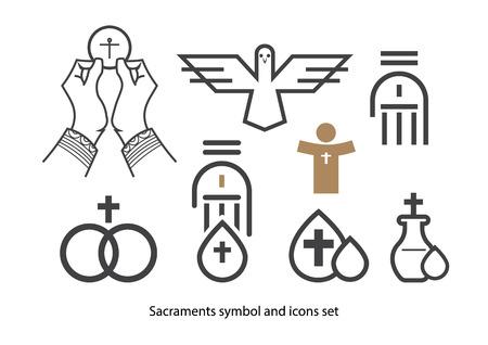 battesimo: Sacramenti set di icone. Vettoriali