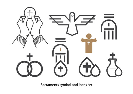 first holy communion: Sacraments icon set.