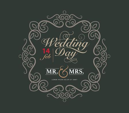 wedding card luxury template flourishes calligraphic elegant ornament lines.