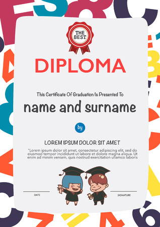 colorful design: Certificates kindergarten and elementary and secondary education.