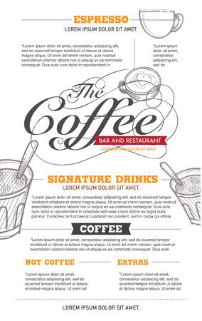 cream paper: vector coffee menu and restaurant design.