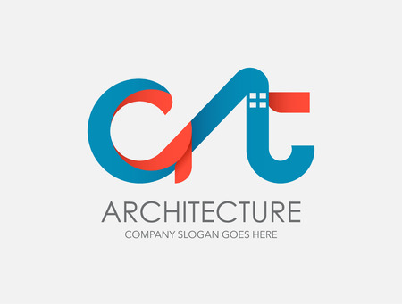 typo: modern abstract architecture logo design. AT typo design, city.