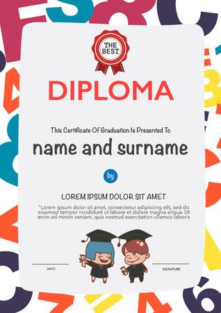 cartoon graduation: Certificates kindergarten and elementary and secondary education.