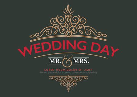 結婚式のカード高級テンプレート カリグラフィのエレガントな飾り線が盛ん。