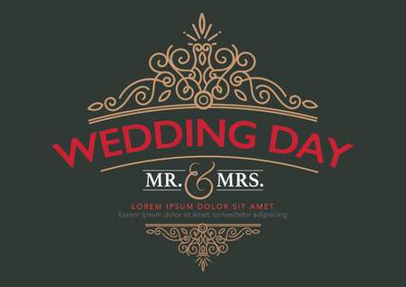 wedding card luxury template flourishes calligraphic elegant ornament lines. Imagens - 41332736