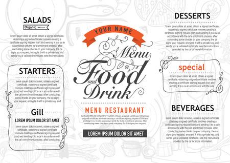 ベクトル ヴィンテージ食品デザイン テンプレートです。メニュー レストラン パンフレット。
