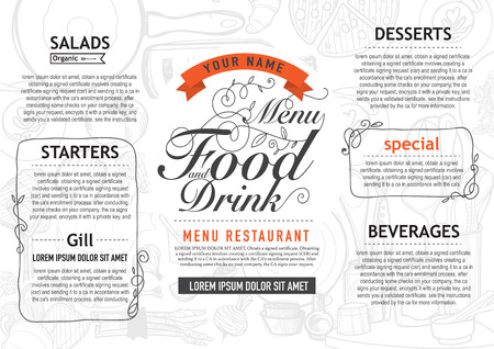 vector vintage food design template. menu restaurant brochure. 版權商用圖片 - 41641898