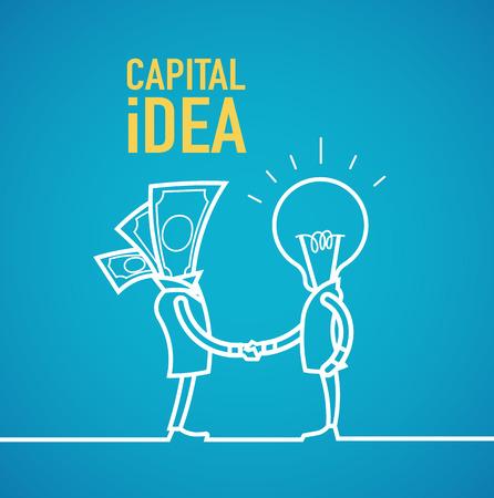business idea: Capital idea business partners shaking hands. Illustration