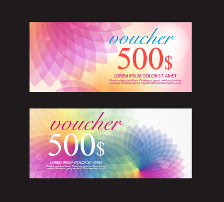 burgundy ribbon: summer full clolor voucher design template. vector